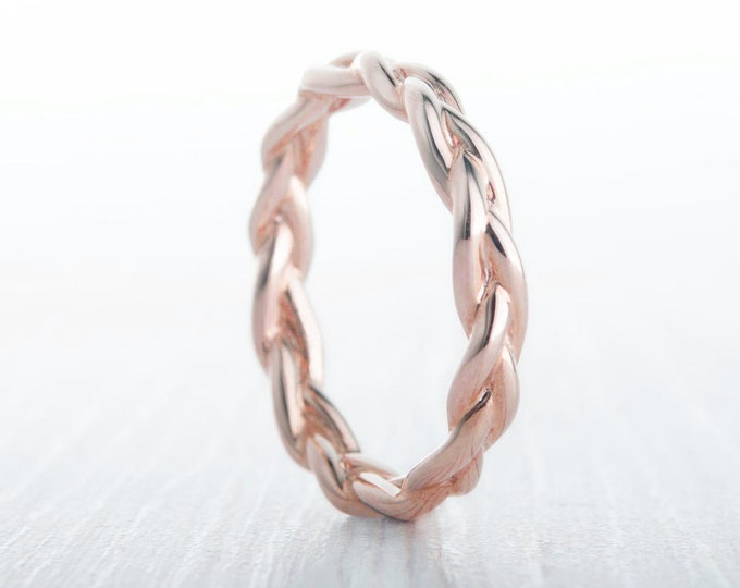 3mm Wide Braided Weave Ring in Rose Gold Filled  - wedding ring - wedding band - promise ring