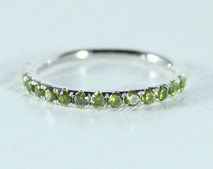 Natural Peridot 2.5mm wide Half Eternity ring available in gold  - stacking ring - wedding band