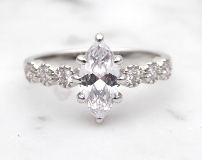 Solid gold Marquise Moissanite solitaire ring available in 10k, 14k, 18k Rose, yellow or white gold - engagement ring
