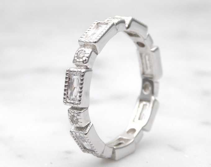 Moissanite radiant cut 3.3mm Solid Gold  full Eternity ring - stacking ring - wedding band