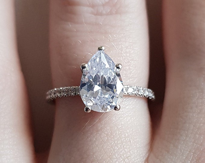 Platinum 2.2ct Teardrop man made diamond simulant solitaire ring - engagement ring