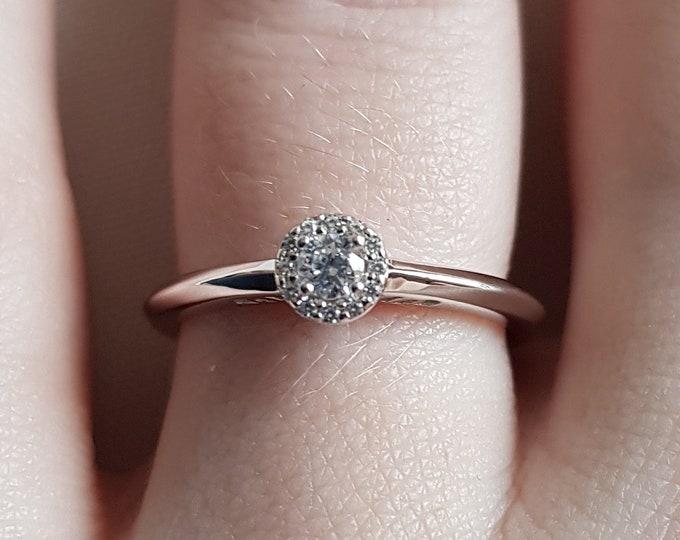 Petite Man Made Diamond halo Engagement Ring - In Platinum - Handmade
