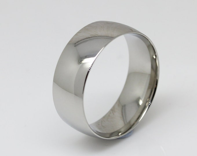 8mm Surgical Steel Comfort Fit / Court Shape Plain band Wedding Ring