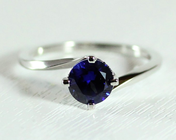 1.25ct natural blue Sapphire solitaire ring available in solid gold or platinum - engagement ring