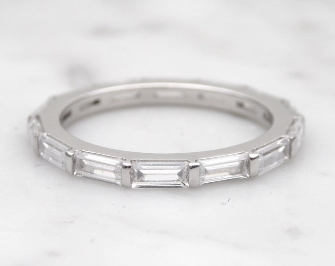 Moissanite Baguette cut 2mm Solid Gold  full Eternity ring - stacking ring - wedding band