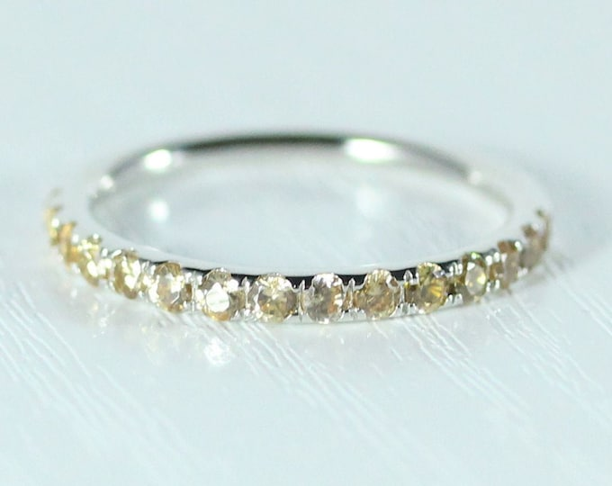 Natural Citrine 2.5mm wide Half Eternity ring available in gold  - stacking ring - wedding band