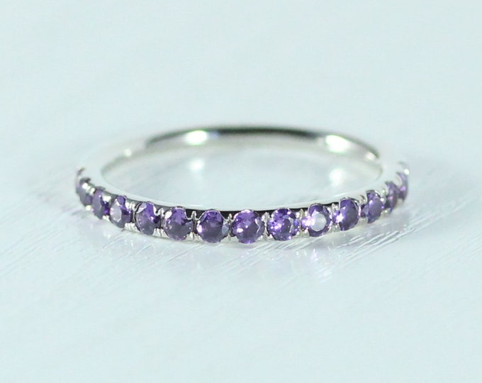 Natural Amethyst 2.5mm wide Half Eternity ring available in gold and platinum - stacking ring - wedding band