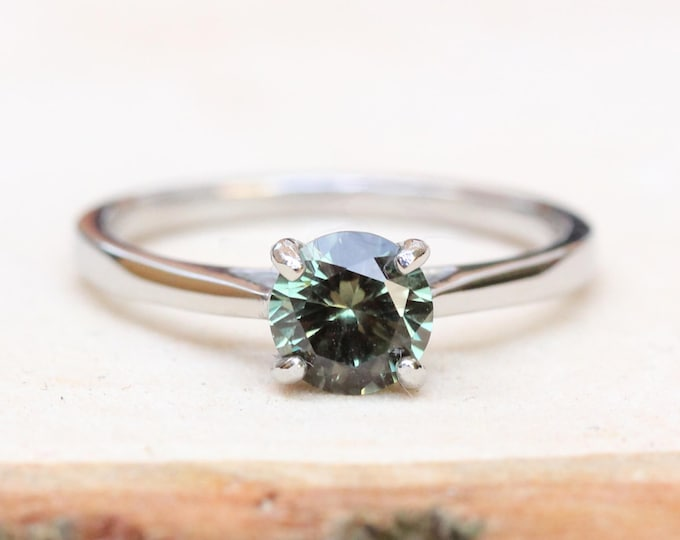 1ct Genuine Green Sapphire solitaire cathedral ring in Titanium or White Gold - engagement ring - wedding ring - handmade ring