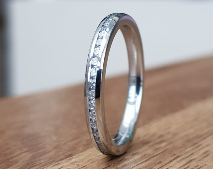 2.5mm Wide Full Eternity ring with Diamonds or White Sapphires in white gold or titanium - Wedding Band - Engagement ring