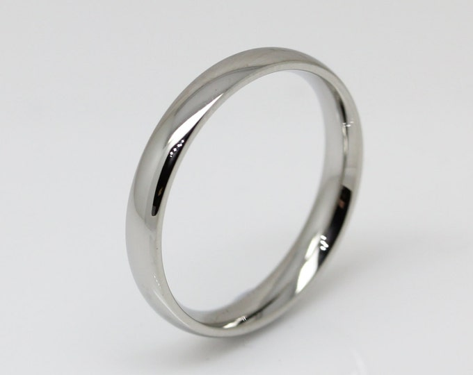 3mm Surgical Steel Comfort Fit / Court Shape Plain band Wedding Ring