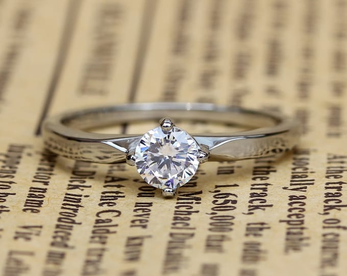 Genuine White Moissanite solitaire ring available in Titanium or white gold - engagement ring - wedding ring