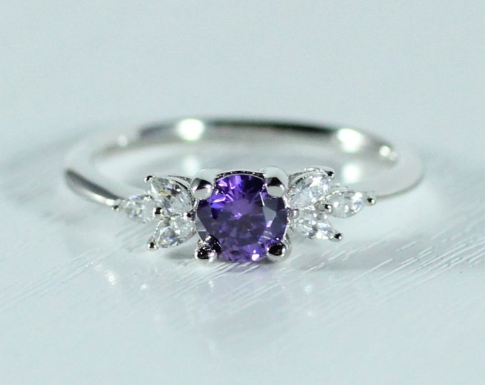 Amethyst and diamond round & marquise solitaire engagement ring available solid gold and platinum