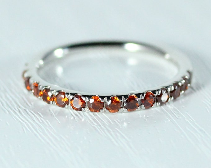 Natural Garnet 2.5mm wide Half Eternity ring available in gold - stacking ring - wedding band