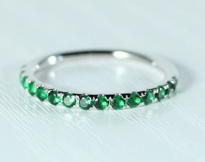 Emerald 2.5mm wide Half Eternity ring available in gold - stacking ring - wedding band