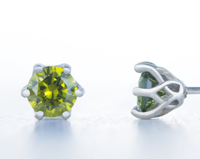 Natural Peridot stud earrings, available in titanium, white gold and surgical steel 4mm, 5mm and 6mm sizes