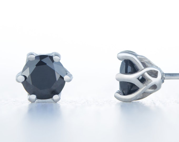 Natural Onyx stud earrings, available in titanium, white gold and surgical steel 4mm, 5mm and 6mm sizes