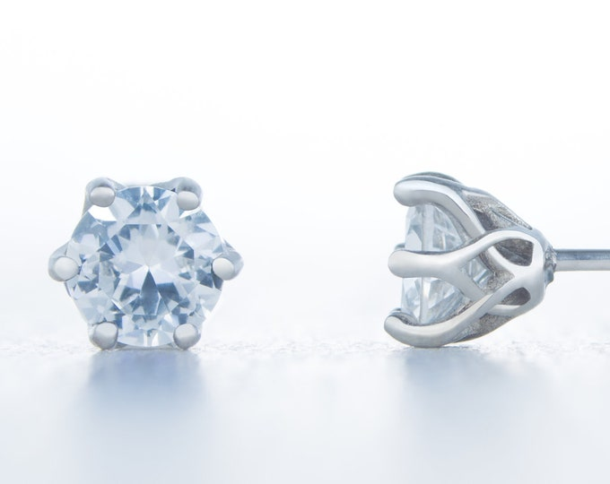 European Cut Man Made Diamond Simulant stud earrings, available in titanium, white gold and surgical steel 4mm, 5mm or 6mm sizes