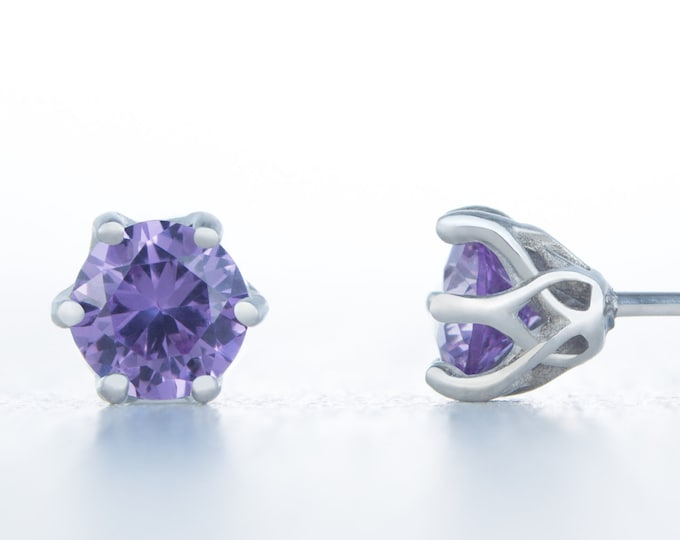 Lab Alexandrite stud earrings, available in titanium, white gold and surgical steel 4mm, 5mm or 6mm sizes