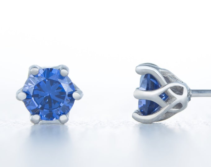 Genuine London Blue Topaz stud earrings, available in titanium, white gold and surgical steel 4mm, 5mm, 6mm sizes