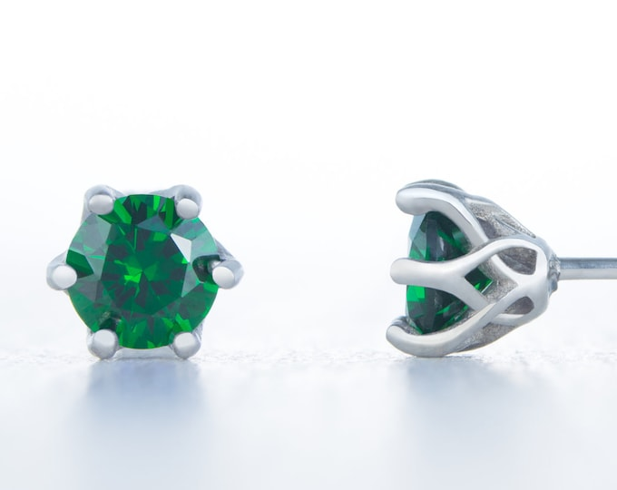 Lab emerald stud earrings, available in titanium, white gold and surgical steel 4mm, 5mm or 6mm sizes