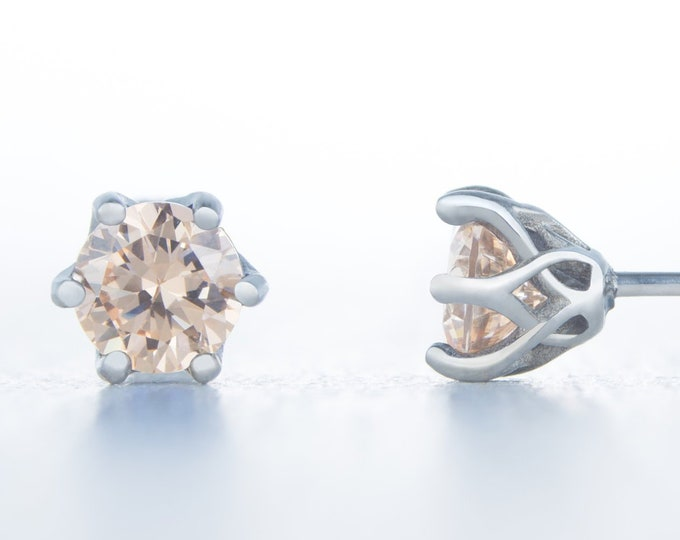 Natural Citrine stud earrings, available in titanium, white gold and surgical steel 4mm, 5mm and 6mm sizes