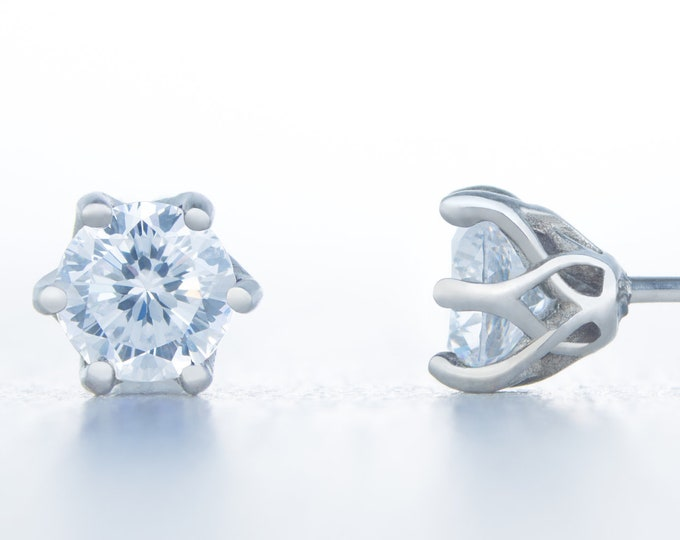 Flower and Hearts Cut Man Made Diamond Simulant stud earrings, available in titanium, white gold and surgical steel 4mm, 5mm or 6mm sizes