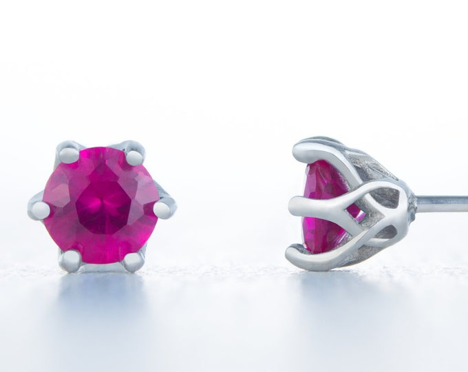 Lab Ruby stud earrings, available in titanium, white gold and surgical steel 4mm, 5mm and 6mm sizes