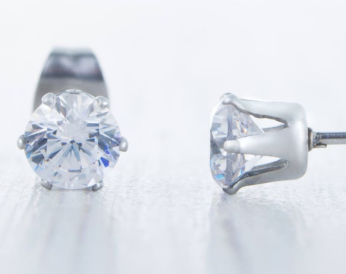 Man Made Diamond Simulant stud earrings, available in titanium, white gold and surgical steel 3mm, 4mm, 5mm or 6mm sizes