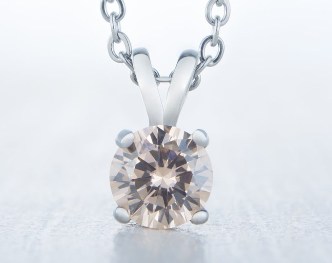 Citrine Pendant Necklace - Available in white gold and titanium - 4mm, 5mm, 6mm 7mm sizes