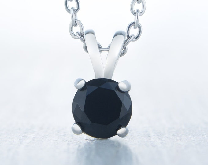 Genuine Onyx Pendant Necklace - Available in white gold and titanium - 4mm, 5mm, 6mm, 7mm sizes