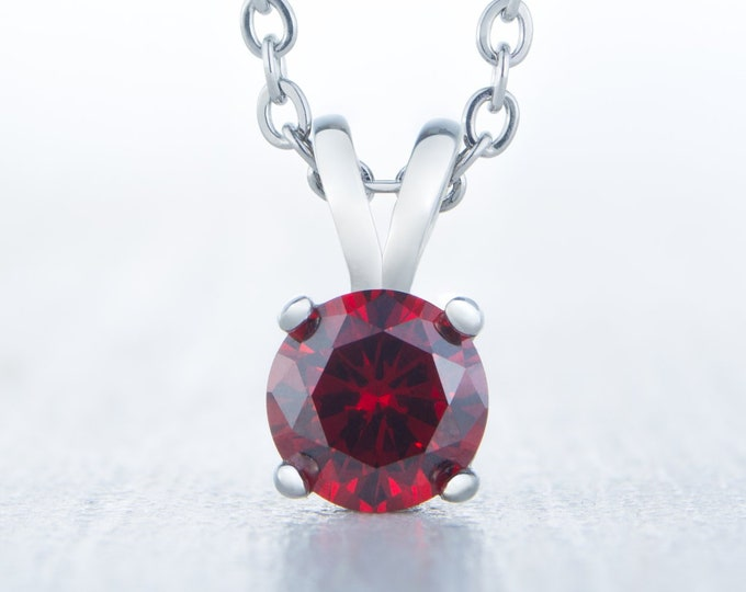 Natura Garnet Pendant Necklace - Available in white gold and titanium - 4mm, 5mm, 6mm 7mm sizes