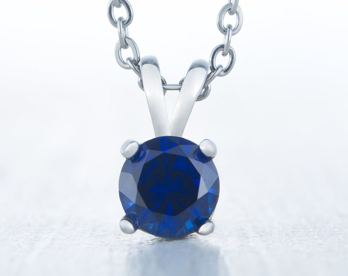 Lab Blue Sapphire Pendant Necklace - 4mm, 5mm, 6mm and 7mm sizes - Available in white gold or titanium