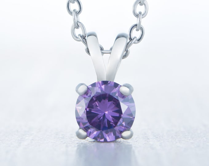 Natural Amethyst Pendant Necklace - Available in white gold and titanium - 4mm, 5mm, 6mm 7mm sizes