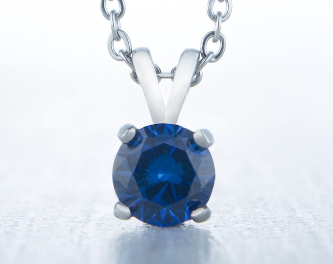 Royal blue sapphire pendant necklace - Available in white gold or titanium