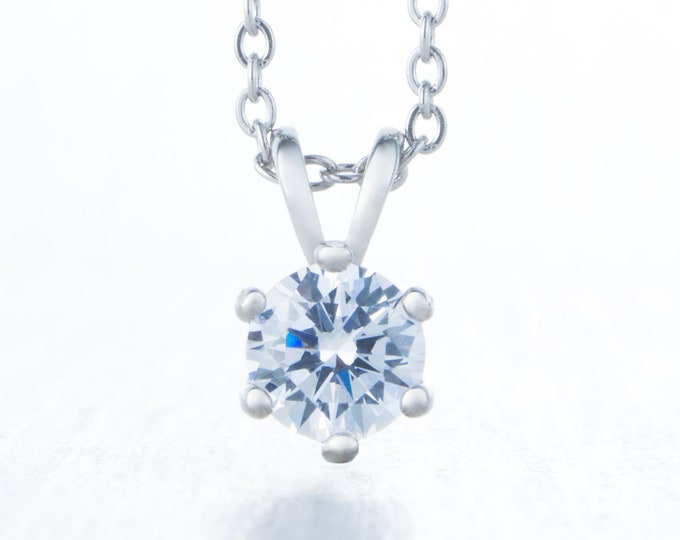 60% OFF SALE! Necklace with Man Made Diamond Simulant pendant - available in 4mm, 5mm, 6mm, 7mm sizes - Available in titanium or white gold