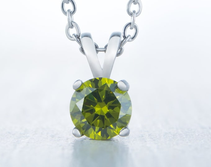 Genuine Peridot Pendant Necklace - Available in white gold and titanium - 4mm, 5mm, 6mm, 7mm sizes