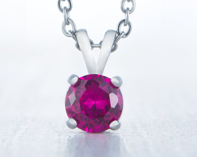 Lab Ruby Pendant Necklace - 4mm, 5mm, 6mm and 7mm sizes - Available in white gold or titanium