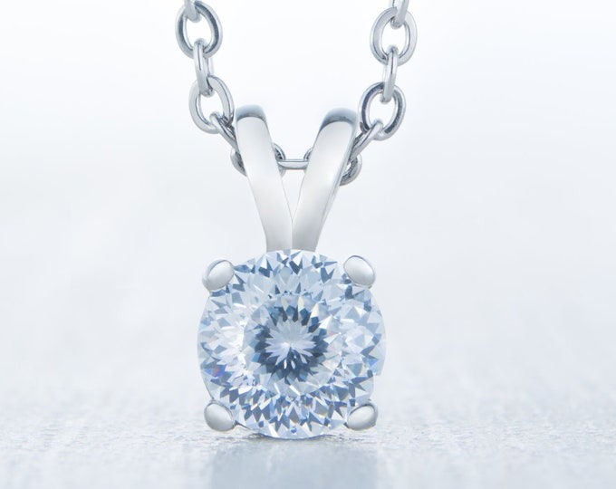Necklace with Portuguese Cut Man Made Diamond Simulant pendant - available in 5mm, 6mm, 7mm sizes - titanium or white gold