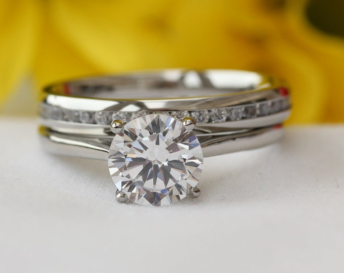 Wedding set! 1.5ct Man Made Diamond Simulant cathedral solitaire and matching eternity ring in Titanium or White Gold