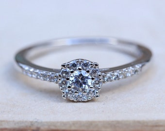 Natural White Sapphire Solitaire Engagement Ring - Available in Sterling Silver or White Gold - Handmade