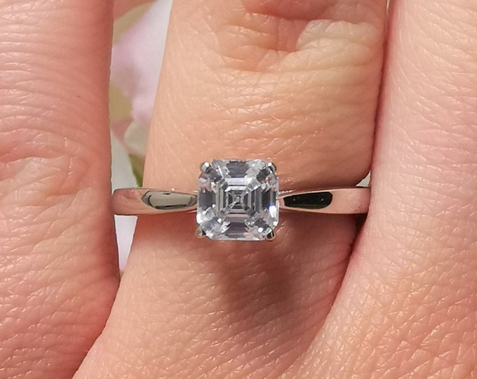 1.2ct Asscher Moissanite ring in Solid gold 10k, 14k, 18k Rose, yellow, white gold - cathedral setting engagement ring