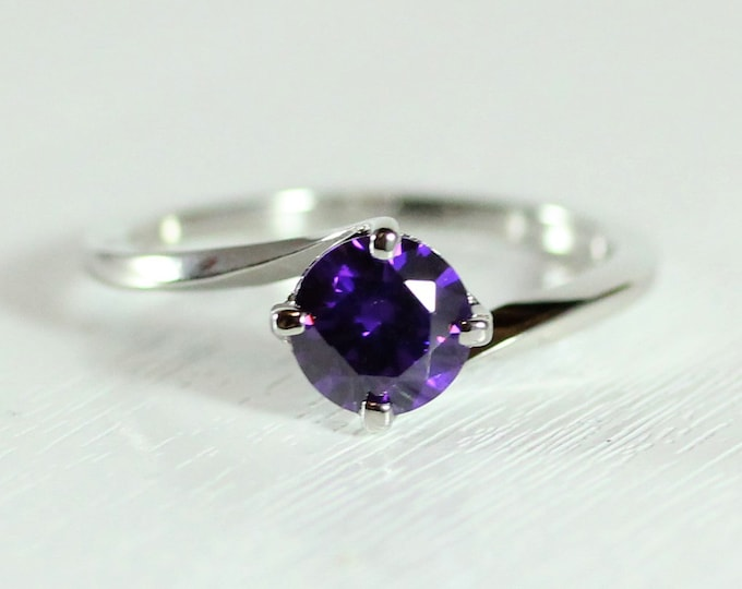 1.25ct Amethyst solitaire ring available in solid gold or platinum - engagement ring