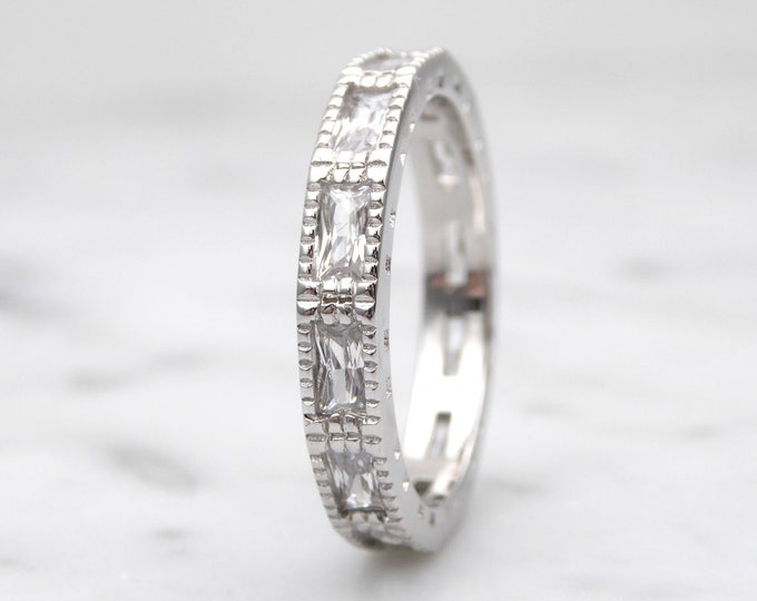 Moissanite radiant cut 3.5mm Solid Gold  full Eternity ring - stacking ring - wedding band