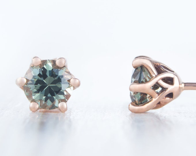 Natural Green Sapphire Solid Rose Gold stud earrings,  4mm, 5mm & 6mm sizes