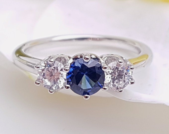 Blue sapphire & Solid Gold Trilogy ring with man made diamonds ring available in 10k, 14k, 18k yellow, rose or white gold - engagement ring