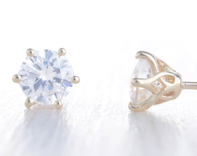 Genuine moissanite Solid Yellow Gold stud earrings,  4mm, 5mm & 6mm sizes