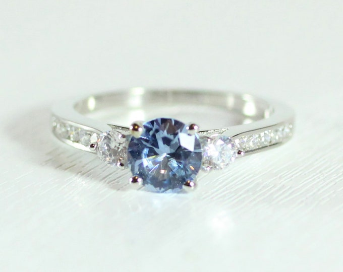Aquamarine 3 stone Trilogy ring with man made diamonds ring available in solid gold or platinum - engagement ring
