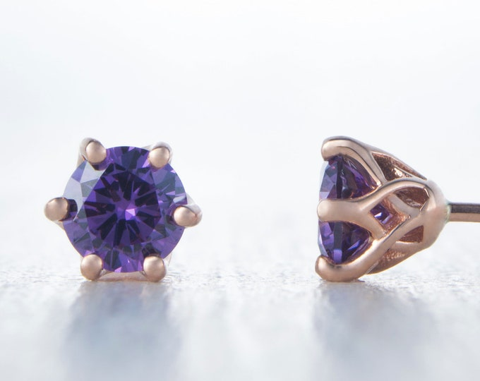 Natural Amethyst Solid Rose Gold stud earrings,  4mm or 5mm sizes