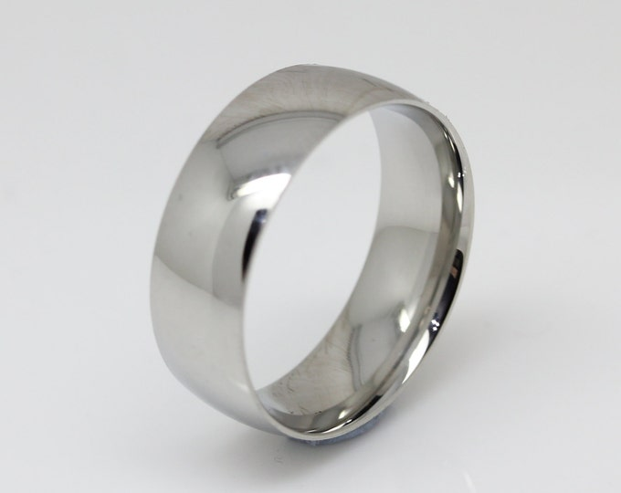 7mm Surgical Steel Comfort Fit / Court Shape Plain band Wedding Ring