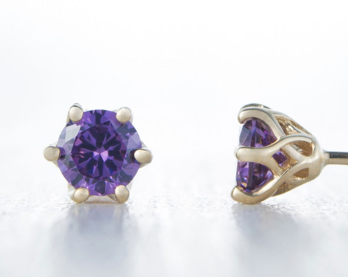 Natural Amethyst Solid Yellow Gold stud earrings,  4mm or 5mm sizes